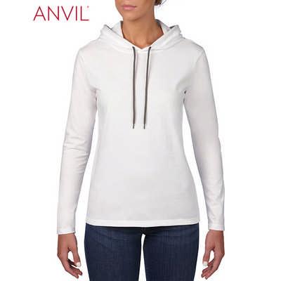 Anvil Womens Lightweight Long Sleeve Hooded Tee Wh